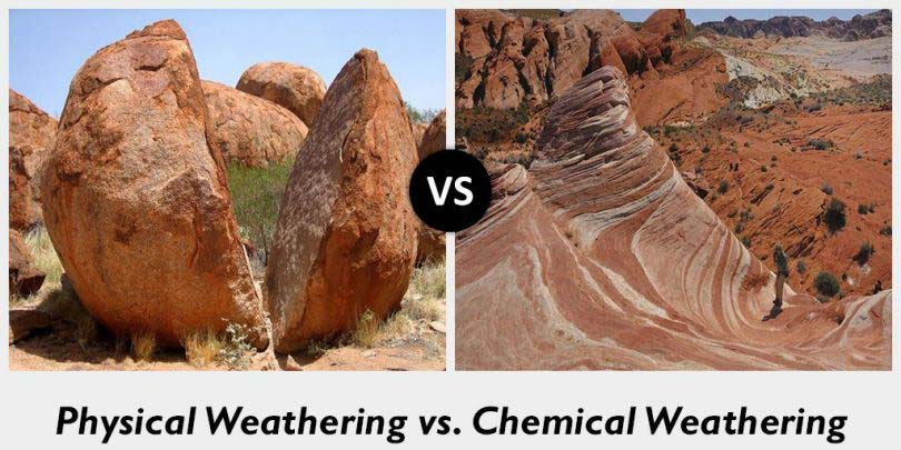 physical weathering vs chemical weathering whats the